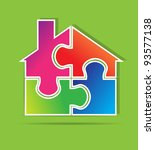 real estate puzzle vector format | Shutterstock .eps vector #93577138