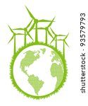 Ecological planet vector background with wind generators - stock vector