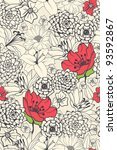 Seamless Floral Pattern With Red Flowers On Monochrome Background