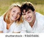 portrait of young happy couple... | Shutterstock . vector #93605686