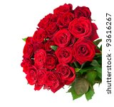 Stock photo roses big bouquet over white 93616267