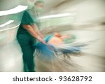 Blurred Figures Of Nurse With...