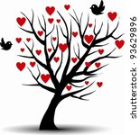 love tree with two birds | Shutterstock .eps vector #93629896