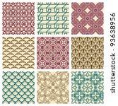 set of nine seamless pattern in ... | Shutterstock .eps vector #93638956