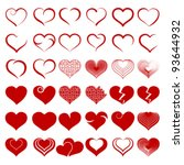 Stock vector red heart collection icon love symbol isolated on white vector 93644932