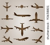 vector vintage old set of brown ... | Shutterstock .eps vector #93658801