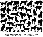 Stock vector dogs silhouette collage 93703279