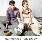 couple sitting on the floor... | Shutterstock . vector #93712399