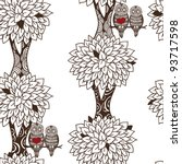 seamless tree pattern with owl... | Shutterstock .eps vector #93717598