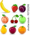 cartoon orange  banana  apples  ... | Shutterstock .eps vector #93720298