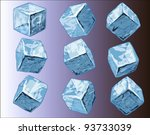 Vector illustration of ice cubes in various positions against various backgrounds.