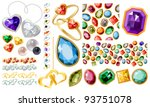 big jewellery set with gems and ...   Shutterstock .eps vector #93751078