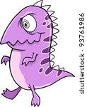 Crazy Purple Monster Alien Vector Illustration Art - stock vector
