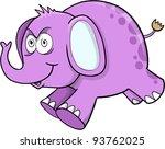 Insane Crazy Purple Elephant Safari Wildlife Vector Illustration Art - stock vector