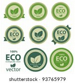 eco labels with retro vintage... | Shutterstock .eps vector #93765979