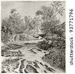 Small photo of Lisara river old view, Abyssinia. Created by Ciceri after Lejean, published on Le Tour du Monde, Paris, 1867