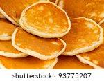 Pancakes on a plate closeup - stock photo