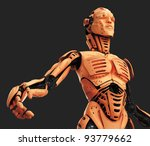 cyborg with stretched hand  ...   Shutterstock . vector #93779662