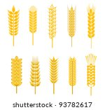 Set of cereal symbols for agriculture design isolated on white background. Vector version also available in gallery - stock photo