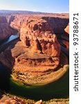 horseshoe Bend on the Colorado River on a gorgeous winter afternoon - stock photo