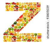 alphabet made of many fruits... | Shutterstock . vector #93805039