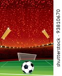 Football Background with Large Soccer Stadium. Vector Illustration with Space for your Text
