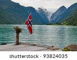 the norwegian flag against the... | Shutterstock . vector #93824035