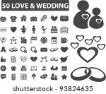 50 love   wedding icons set ...