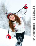 young woman outdoor in winter | Shutterstock . vector #93826156