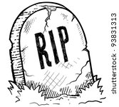 doodle style tombstone with rip ... | Shutterstock .eps vector #93831313