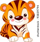 Stock vector fun zoo illustration of cute tiger 93839794