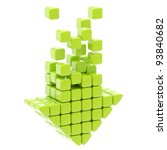 Download arrow icon made of green glossy cubes isolated on white - stock photo