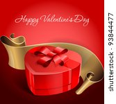 red gift box tied with a heart... | Shutterstock .eps vector #93844477