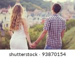 young couple watching sunset | Shutterstock . vector #93870154
