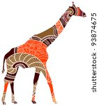 beautiful giraffe in ethnic... | Shutterstock .eps vector #93874675