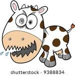 Crazy Cow Vector Illustration - stock vector