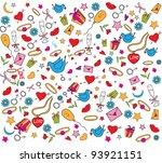 valentine doodles set   Shutterstock .eps vector #93921151