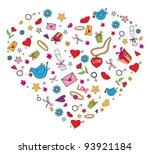 valentine doodles set   Shutterstock .eps vector #93921184