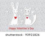 hare and  kitten. illustration...   Shutterstock .eps vector #93921826