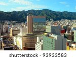 Aerial view of downtown Kobe, japan. - stock photo