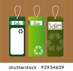 green recycle tags over brown... | Shutterstock .eps vector #93934609