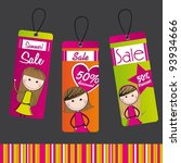 tags with girls and discounts... | Shutterstock .eps vector #93934666