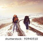 Tourists On Railroad