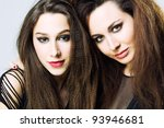 Beautiful Fashion Models with Big Hairstyle - stock photo