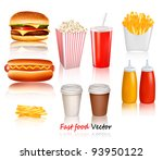 Big Group Of Fast Food Product...