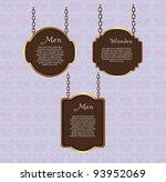 wooden sign hanging over violet ...   Shutterstock .eps vector #93952069