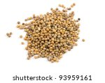 grains of mustard are isolated on white - stock photo