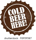 Cold Beer Here Bar Stamp - stock vector