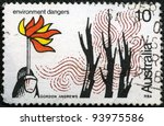 AUSTRALIA - CIRCA 1975: A stamp printed in Australia shows Environmental Dangers, series, circa 1975 - stock photo