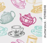 vintage tea porcelain. seamless pattern - stock vector